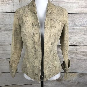 Jackets & Blazers - Leather fitted full zip snakeskin pattern jacket